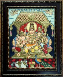 Traditional Indian art title Shiv Family Tanjore Painting on Plywood - Tanjore Paintings