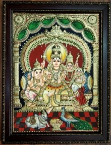 Traditional Indian art title Shiva Family Tanjore Painting 1 on Plywood - Tanjore Paintings