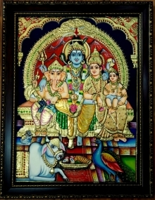 Traditional Indian art title Shiva Family Tanjore Painting 3 on Plywood - Tanjore Paintings