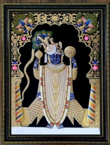 Traditional Indian art title Srinathji on Plywood - Tanjore Paintings