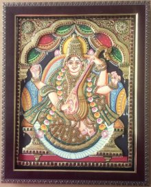 Traditional Indian art title Goddess Saraswati on Plywood - Tanjore Paintings