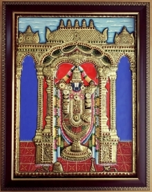 Traditional Indian art title Tirupathi Balaji Tanjore Painting on Plywood - Tanjore Paintings