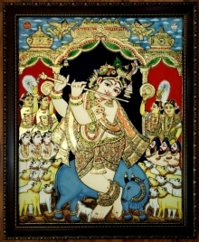 Traditional Indian art title Venugopal Flute Krishna With Cows Tanjor on Plywood - Tanjore Paintings