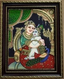 Traditional Indian art title Yashodha Krishna Tanjore Painting 4 on Plywood - Tanjore Paintings
