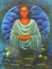Figurative Oil Art Painting title Monk II by artist Vijaya Ved