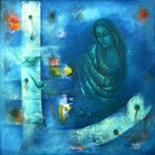 Figurative Oil Art Painting title Mystic World II by artist Vijaya Ved