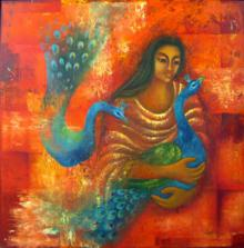 Figurative Oil Art Painting title 'Touch I' by artist Vijaya Ved