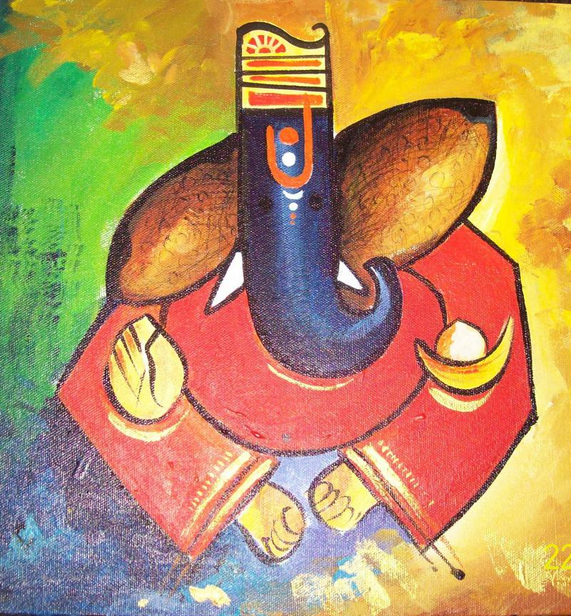 Ganpati Painting Painting By Sanjay Raut Artzolo Com