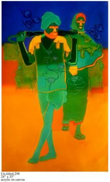 Figurative Acrylic Art Painting title 'Rural Couple II' by artist Tailor Srinivas