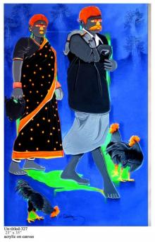 Couple Going To The Market | Painting by artist Tailor Srinivas | acrylic | Canvas