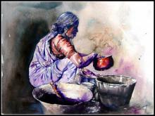 Dishwasher Women | Painting by artist SRV ARTIST | watercolor | Handmade Paper