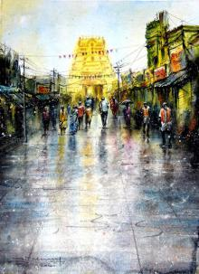 Cityscape Watercolor Art Painting title 'Kanchipuram Temple' by artist SRV ARTIST