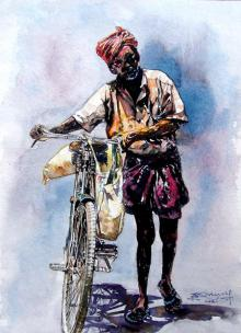 Figurative Watercolor Art Painting title 'Scycle With Man' by artist SRV ARTIST