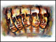 SRV ARTIST | Dry-pastel Painting title Several Face With Man on Box Board | Artist SRV ARTIST Gallery | ArtZolo.com