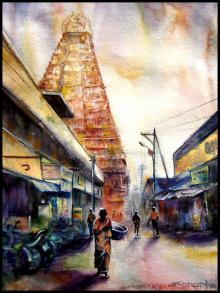 Cityscape Watercolor Art Painting title 'Temple 3' by artist SRV ARTIST