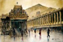 SRV ARTIST | Watercolor Painting title Temple Rainey on Handmade Paper | Artist SRV ARTIST Gallery | ArtZolo.com