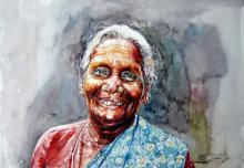 SRV ARTIST | Watercolor Painting title Un Bounded Smile Of Joy on Handmade Paper | Artist SRV ARTIST Gallery | ArtZolo.com