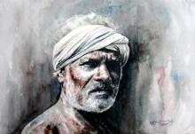 Figurative Watercolor Art Painting title 'Village Farmer 3' by artist SRV ARTIST
