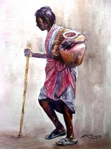 Figurative Watercolor Art Painting title 'Village Women' by artist SRV ARTIST