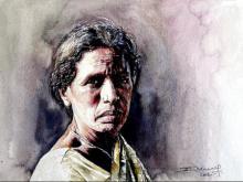 Figurative Watercolor Art Painting title 'Village Women 2' by artist SRV ARTIST