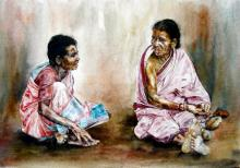 Figurative Watercolor Art Painting title 'Village Womens' by artist SRV ARTIST