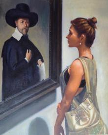 Figurative Oil Art Painting title Golden moment by artist Chaitan Bhosale