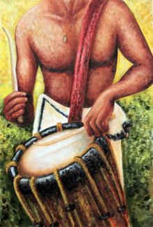 Seby Augustine | Acrylic Painting title Chendakkaaran on Canvas | Artist Seby Augustine Gallery | ArtZolo.com