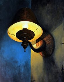 Still-life Acrylic Art Painting title 'Rusty lamp' by artist Seby Augustine