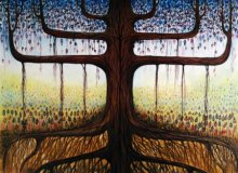 Surrealist Acrylic Art Painting title 'The Veins' by artist Seby Augustine