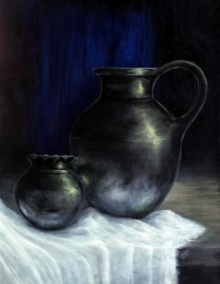 Still-life Acrylic Art Painting title 'The Jars' by artist Seby Augustine
