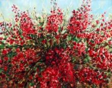 Seby Augustine | Acrylic Painting title Blossom on Canvas | Artist Seby Augustine Gallery | ArtZolo.com
