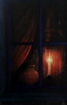 Still-life Acrylic Art Painting title 'Night Vigil' by artist Seby Augustine