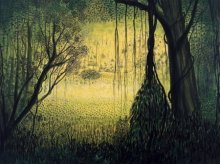 Nature Acrylic Art Painting title 'Forest' by artist Seby Augustine