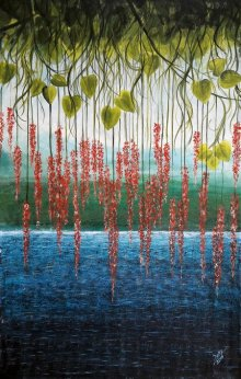 Surrealist Acrylic Art Painting title 'Riverside' by artist Seby Augustine