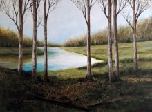 Nature Acrylic Art Painting title 'Winter' by artist Seby Augustine