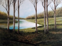 Landscape Acrylic Art Painting title 'Winter' by artist Seby Augustine