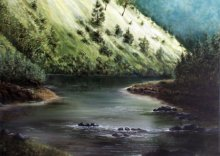 Nature Acrylic Art Painting title 'River' by artist Seby Augustine