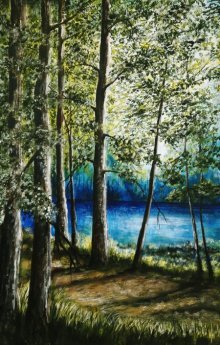 Nature Acrylic Art Painting title 'Lakeview' by artist Seby Augustine