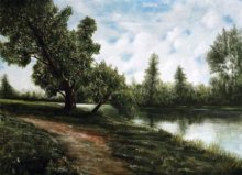 Seby Augustine Paintings | Acrylic Painting - Tranquillity by artist Seby Augustine | ArtZolo.com