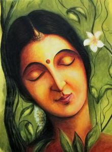 Shakunthala | Painting by artist Seby Augustine | acrylic | Canvas