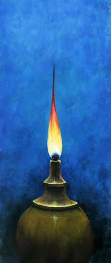 Still-life Acrylic Art Painting title 'The Oil Lamp' by artist Seby Augustine