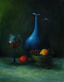 Still-life Acrylic Art Painting title 'Wine And Water' by artist Seby Augustine