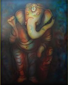 Sripad Kulkarni | Ganesha Series Mixed media by artist Sripad Kulkarni on Canvas | ArtZolo.com
