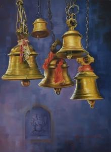 bells, ganesha, yellow, brown, temple, kamal rao, oil on canvas, ganpat, realism, devotion, artist-kamal roa, udaipur-artist