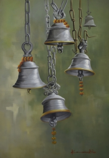 bells, ganesha, yellow, green,orange, temple, kamal rao, oil on canvas,flower, realism, devotion, artist-kamal roa, udaipur-artist