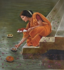 Kamal Rao | Oil Painting title Reverence on Canvas | Artist Kamal Rao Gallery | ArtZolo.com
