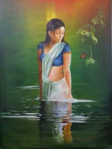 Figurative Oil Art Painting title 'Butterfly' by artist Kamal Rao