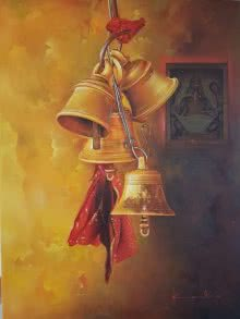 Religious Oil Art Painting title 'Bells and Ganesha 2' by artist Kamal Rao