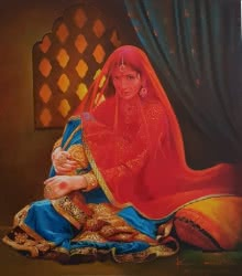lady,saree,jewellery,india,indian art,queen,kamal rao,oil on canvas,red,blue,figurative,