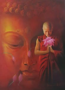 buddha,buddhism,devotion,devotee,lord,god,oil on canvas,kamal raoo,faith,india,monk,diya,temple,thailand,bangkok,lotus,